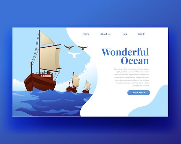 Pagina di destinazione pagina di destinazione della barca a vela Vettore Premium