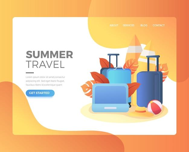 Pagina di destinazione pagina di destinazione di una raccolta di bagagli per le vacanze Vettore Premium