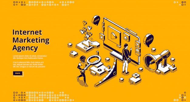 Pagina di destinazione per agenzia di marketing su internet Vettore gratuito