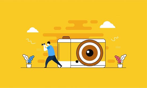 Pagina di destinazione per fotocamera e fotografia Vettore Premium