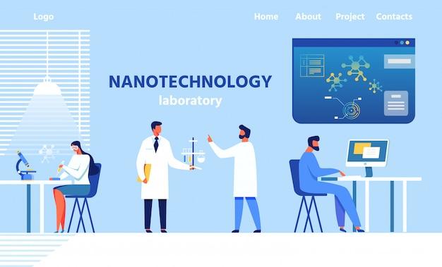 Pagina di destinazione per il moderno laboratorio di nanotecnologie Vettore Premium