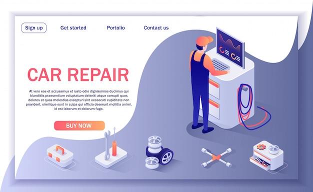 Pagina di destinazione per il negozio di riparazione auto e il servizio di diagnostica Vettore Premium