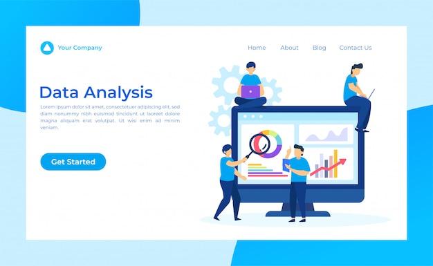 Pagina di destinazione per l'analisi dei dati Vettore Premium