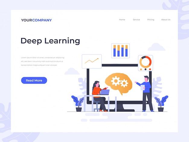 Pagina di destinazione per l'apprendimento profondo Vettore Premium