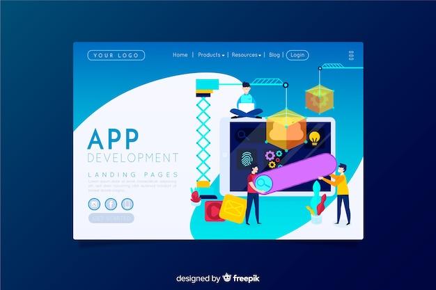 Pagina di destinazione per lo sviluppo di app Vettore gratuito