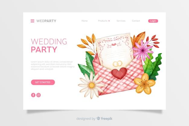 Pagina di destinazione per matrimonio acquerello Vettore gratuito