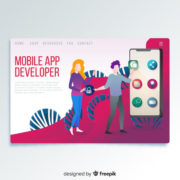 Pagina di destinazione per sviluppatori di app per dispositivi mobili Vettore gratuito