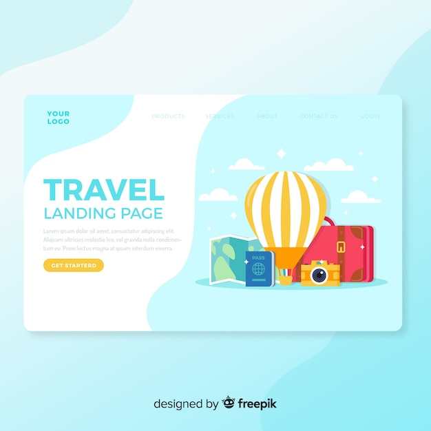 Pagina di destinazione per viaggi piatti Vettore gratuito
