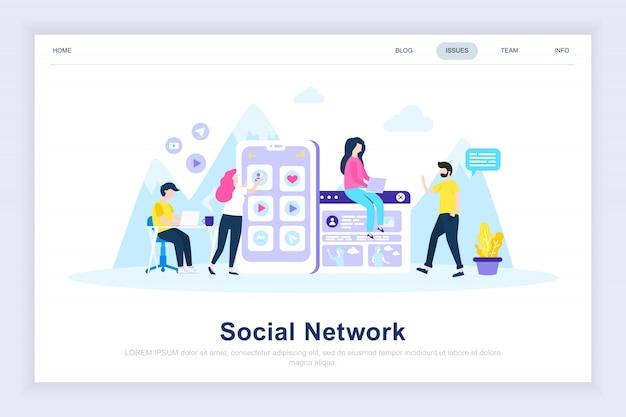 Pagina di destinazione piana moderna del social network Vettore Premium