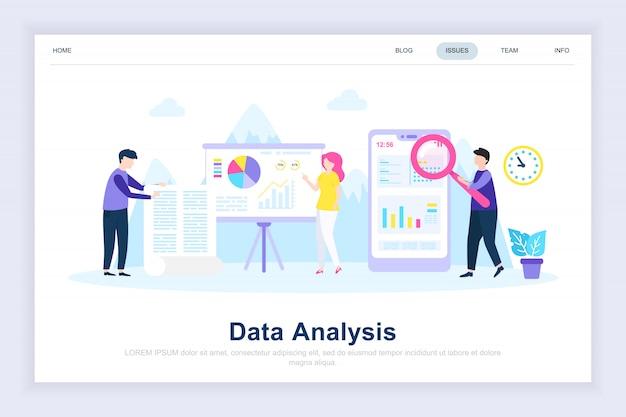 Pagina di destinazione piana moderna di analisi dei dati Vettore Premium