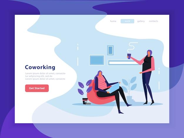 Pagina di destinazione piatta per coworking Vettore gratuito