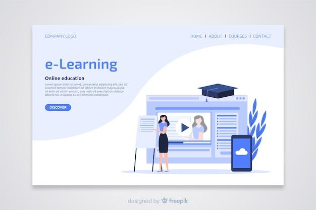 Pagina di destinazione piatta per il concetto di e-learning Vettore gratuito