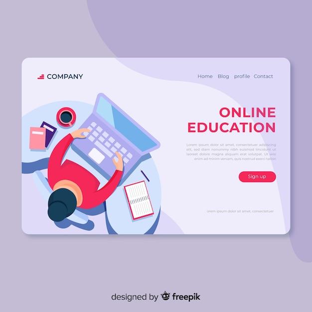 Pagina di destinazione piatta per l'educazione online Vettore gratuito