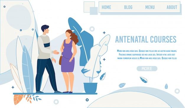 Pagina di destinazione piatta per la promozione di corsi prenatali Vettore Premium
