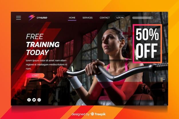 Pagina di destinazione promozione palestra oggi allenamento gratuito Vettore gratuito