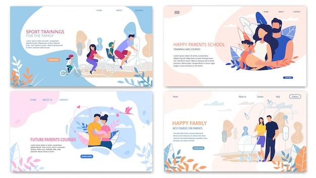 Pagina di destinazione rapida impostata, happy inscription family Vettore Premium