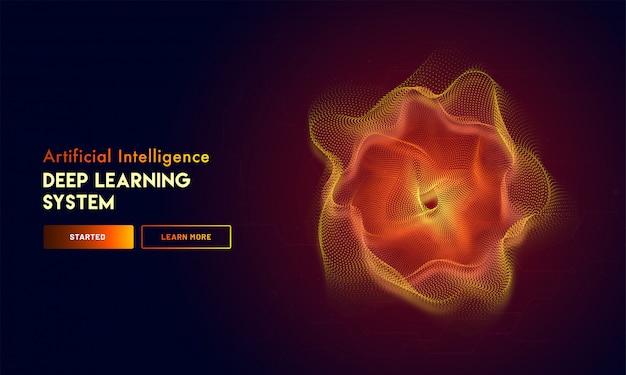 Pagina di destinazione reattiva all'intelligenza artificiale (ai). Vettore Premium