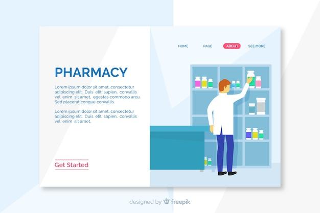 Pagina di destinazione semplice e piatta per farmacia Vettore gratuito