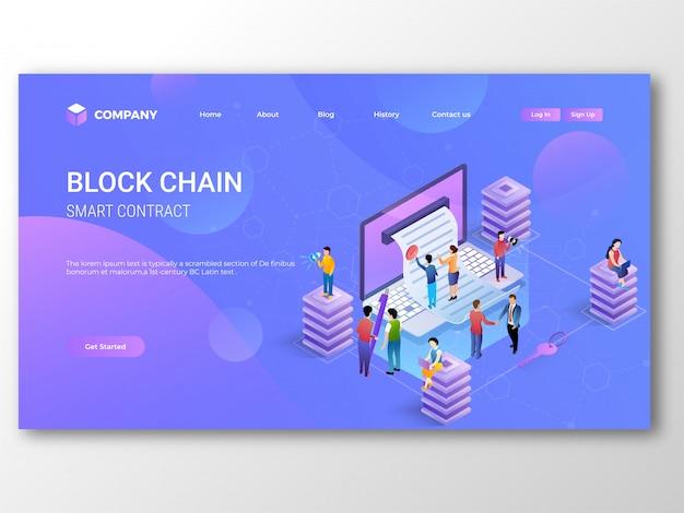 Pagina di destinazione smart contract blockchain Vettore Premium