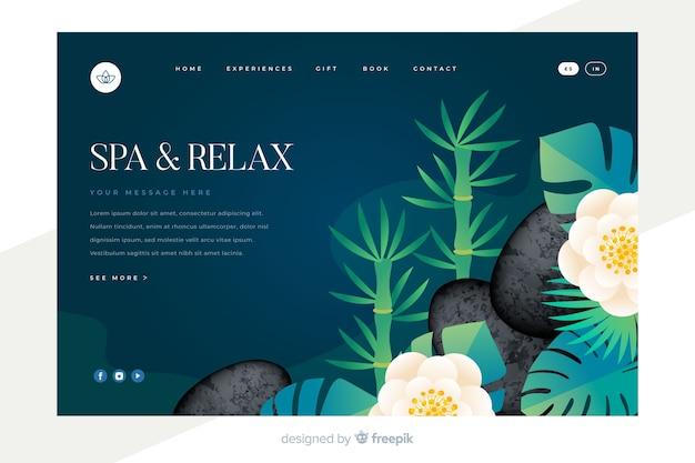 Pagina di destinazione spa con elementi naturali Vettore gratuito