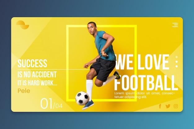 Pagina di destinazione sport con foto Vettore gratuito