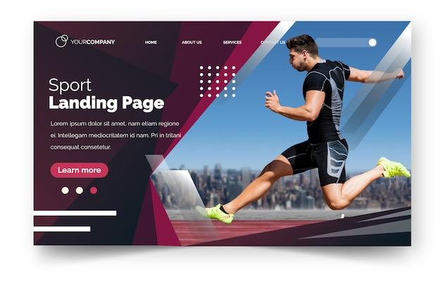 Pagina di destinazione sport con immagine Vettore gratuito