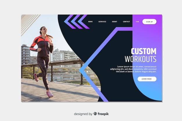 Pagina di destinazione sportiva con allenamenti Vettore gratuito