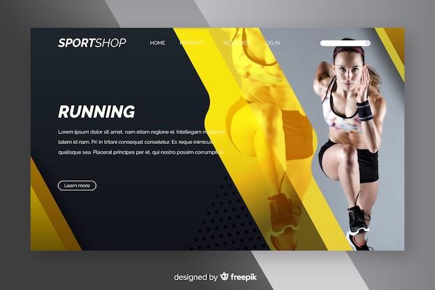 Pagina di destinazione sportiva con foto Vettore gratuito