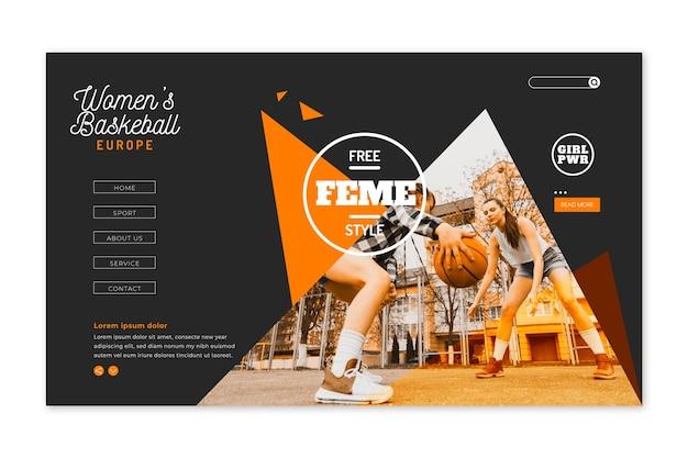 Pagina di destinazione sportiva con immagine Vettore gratuito