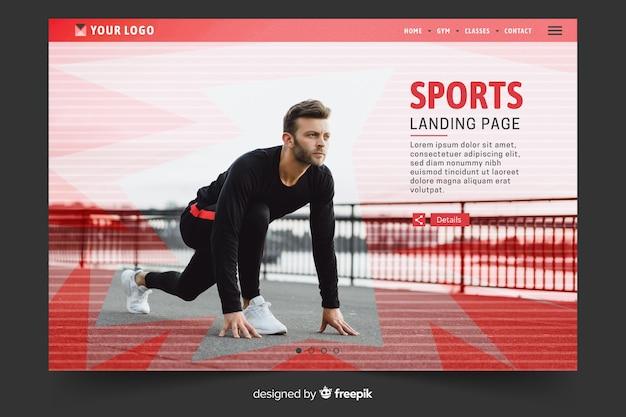 Pagina di destinazione sportiva con modello di foto Vettore gratuito