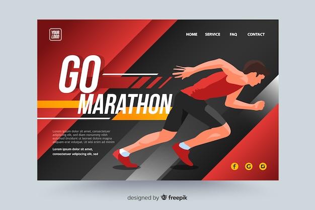 Pagina di destinazione sportiva della maratona Vettore gratuito