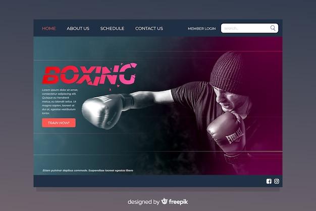 Pagina di destinazione sportiva di boxe Vettore gratuito