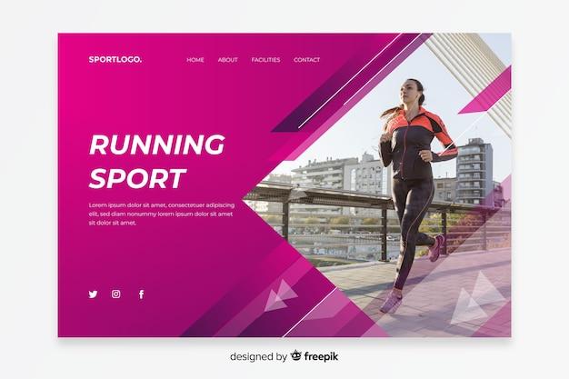 Pagina di destinazione sportiva in esecuzione Vettore gratuito