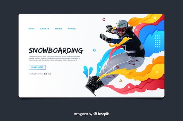 Pagina di destinazione sportiva per snowboard Vettore gratuito