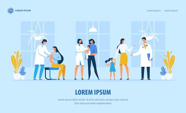 Pagina di destinazione sulla protezione dell'immunità e l'assistenza sanitaria Vettore Premium