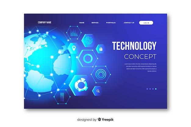 Pagina di destinazione tecnologia concetto modello Vettore gratuito