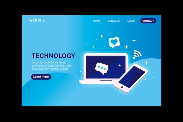 Pagina di destinazione tecnologia smartphone e laptop Vettore gratuito