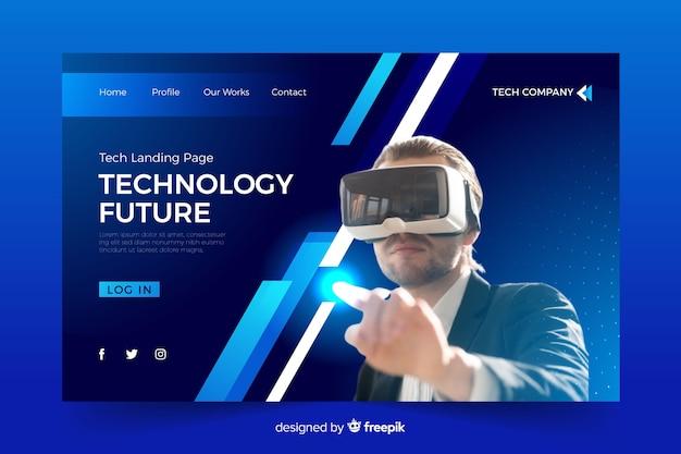 Pagina di destinazione tecnologica con occhiali vr Vettore gratuito