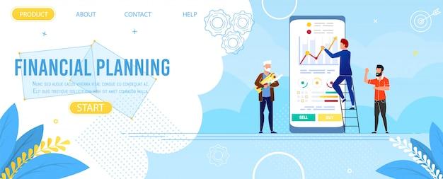 Pagina di destinazione vertise app per la pianificazione finanziaria Vettore Premium