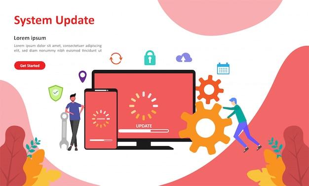 Pagina di destinazione web di aggiornamento del sistema Vettore Premium