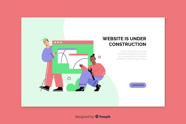 Pagina di destinazione web in costruzione Vettore gratuito