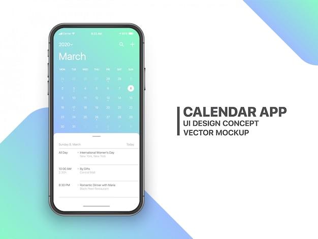 Pagina di marzo di ux ui concept dell'app calendario Vettore Premium