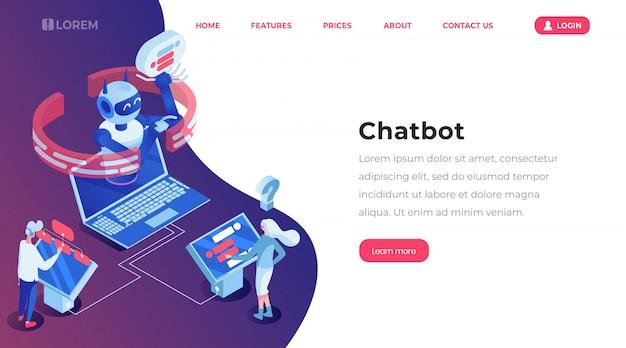 Pagina di modello di atterraggio isometrica di chatbot. Vettore Premium