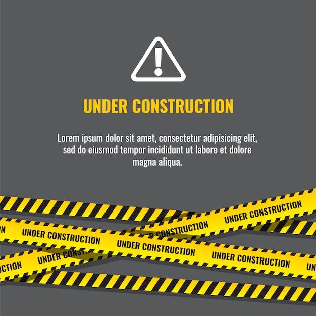 Pagina in costruzione del sito web con l'illustrazione a strisce nera e gialla dei bordi Vettore Premium