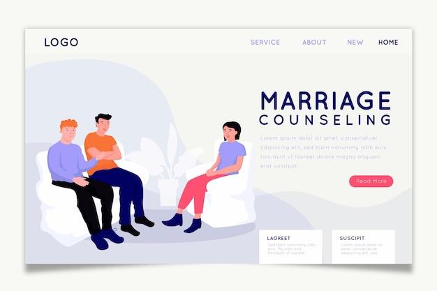 Pagina iniziale di consulenza matrimoniale Vettore gratuito