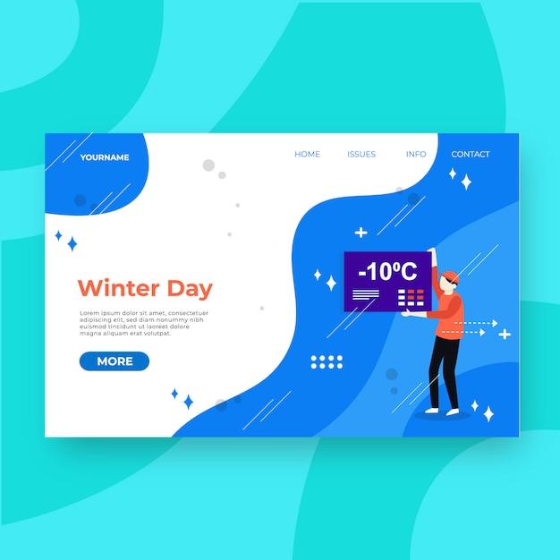 Pagina speciale inverno di atterraggio Vettore Premium