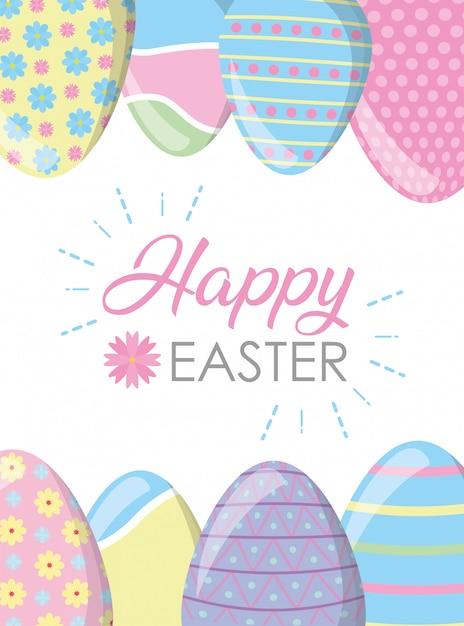 Pagina uova di pasqua felici con la cartolina d'auguri di colori pastello Vettore gratuito