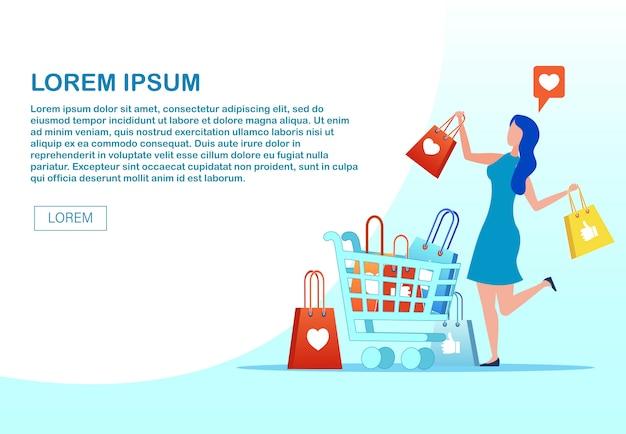Pagina web che annuncia m-commerce con donna felice Vettore Premium