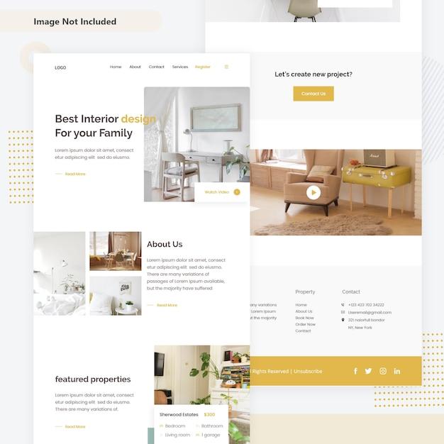 Pagina web di decorazione d'interni Vettore Premium