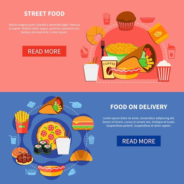 Pagina web di fast food 2 flat banners Vettore Premium